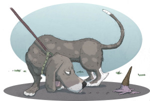 Spot illustration of dogwalking