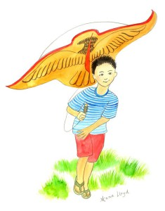 little Vietnamese boy running with a kite