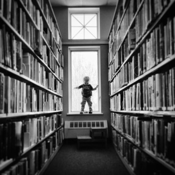 Little Boy in Library